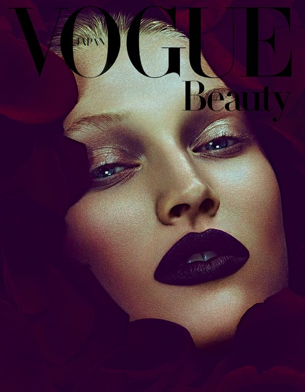 toni garrn 'dark shades of roses' by ben hasset for vogue japan cover