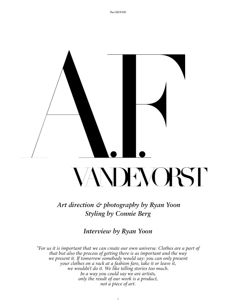 A.F. Vandevorst by Ryan Yoon for The Ground 2