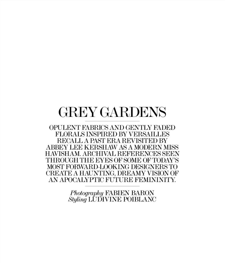 Abbey Lee Kershaw 'Grey Gardens' Fabien Baron For Interview