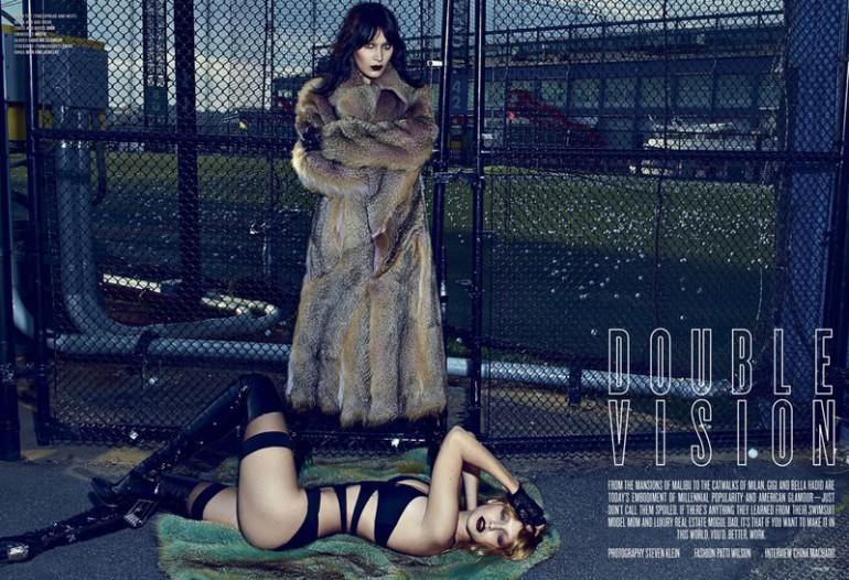 Bella & Gigi 'Double Vision' Steven Klein for V Magazine cover